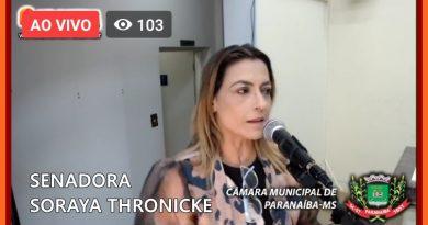 Senadora marca presença na Sessão da Câmara de Paranaíba MS 03/08/2020.