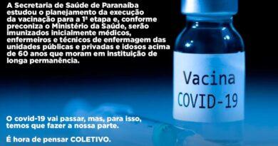 PARANAÍBA: 1ª fase de vacinação imunizará 425 pessoas